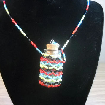 Beaded Bottle Necklace Beaded Necklace Seed Bead Necklace