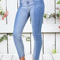 Two-Tone Raw Edge Skinny Jeans {L. Wash}