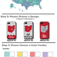 Personalized iPhone Case, State Love Ohio Glitter Chevron iPhone Case, Not Real Glitter, Fits iPhone 4, iPhone 4s & iPhone 5, Phone Cover