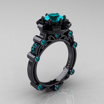 Caravaggio 14K Black Gold 1.0 Ct Blue Zircon Engagement Ring R631-14KBGBZ