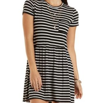 Black Combo Striped T-Shirt Dress with Pocket by Charlotte Russe