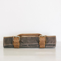 Knife Roll. Field Tan Waxed Canvas & Oil Tanned Leather, by fullgive