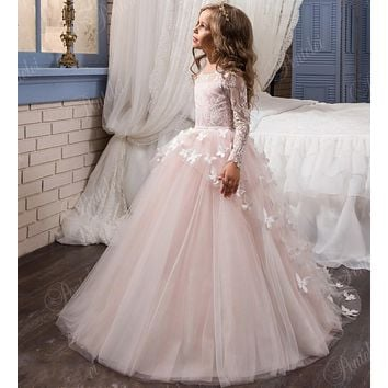 Cute Pink butterfly Flower girl Dresses With long sleeves girls pageant dress 2017 tulle princess communion dresses  F236