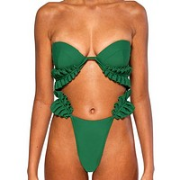 Summer Fashion New Swimsuit More Wearing Method Two Piece Bikini Women Green