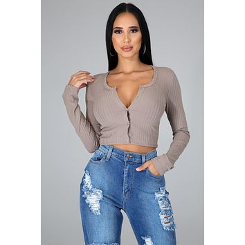 Taupe Long Sleeve Button Up V Neck Top