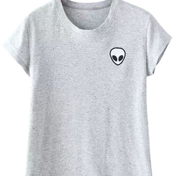 Gray Alien Embroidery T-Shirt
