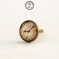 Old Clock Ring, Antique Clock, Adjustable Ring, Glass Ring, Picture Ring, Retro Jewellery, Photo Jewelry, Brown Clock