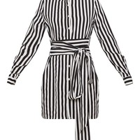 Mono Stripe Print Tie Waist Shirt Dress
