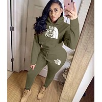 THE NORTH FACE Women Casual Letter Pattern Print Long Sleeve Trousers Set Two-Piece green