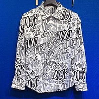 DIOR Popular Men Women Full Print Long Sleeve Shirt Top