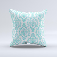 White Teal Damask Pattern Ink-Fuzed Decorative Throw Pillow