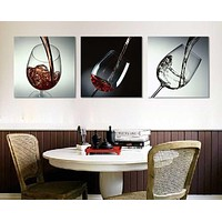 3 Piece No Frame Modern Kitchen Canvas Paintings Red Wine Cup Bottle  Wall Art Oil Painting Set Bar Dinning Room decoration