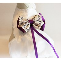 Purple Dog dress, ring bearer, pet Wedding accessory, White with Purple Bow, Clothing , Wedding dog collar