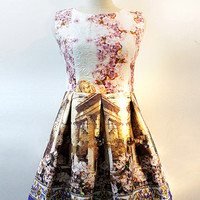 Multi Color Baroque Palace Print Pleated Princess Dress