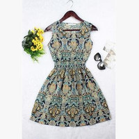 Fashion Women Dress Vintage Long Print Elegant Plus Size Summer Dress Casual Bohemian Vestidos De Festa Chinese Style Clothing
