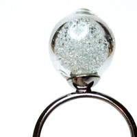Clear microbeads in hand blown glass silver tone by thestudio8