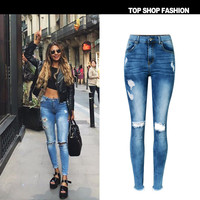 Tassels Hot Sale Slim Stretch Denim Rinsed Denim Irregular Ripped Holes Cropped Pants [10734935631]