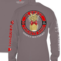 """Simply Southern """"Tailgate Hard"""" Long Sleeve Tee- Red/Black"""