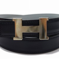 Authentic Hermes Belt Mini Constance Reversible Navy X Light Gray H 75 149920