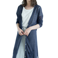 Solid Long Sleeve High Low Patch Pocket Cardigan