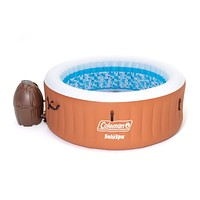 Coleman 90455 SaluSpa Miami Air Jet 4 Person Outdoor Patio Inflatable Hot Tub Spa with Pump and Cover Orange