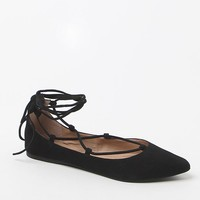 Steve Madden Eleanorr Faux Leather Lace-Up Flats - Womens Shoes - Black