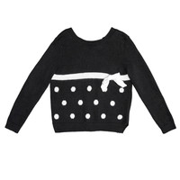 Monnalisa - Girls Open Back Long Sleeve Sweater With White Tiebacks, Black - 10Y