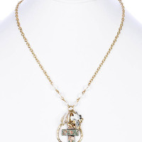 NECKLACE / AGED FINISH METAL / CROSS / HAMMERED TEARDROP RING / LUCITE CHARM / THREE TONE / LINK / CHAIN / 18 INCH LONG / 2 INCH DROP / NICKEL AND LEAD COMPLIANT