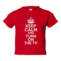 Keep Calm & Turn On The TV Great Shirt for Toddlers Infants Onsie And Creepers Various Keep Calm Turn On TV Colors and Styles
