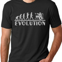 Drummer Evolution Funny T-Shirt Drums Humor Tee