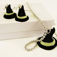 Wicked Witch Hat set glow in the dark by MissEsAccessories on Etsy