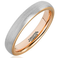 4mm Tungsten Rings for Men Women Rose Gold Plated Brushed Matte Finish Wedding Band