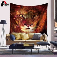 Lion Home Textile Polyester Tapestry Wall Art Hanging Mandala Tapestry Indian Beach Towel Tapetes Para Sala Unicorn fabric Plage