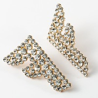 FENDI Newest Women Exaggerated F Letter Diamond Acrylic Earrings Accessories Jewelry Golden