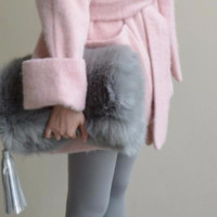 Gray Faux Fur Fold Over Clutch handbag purse