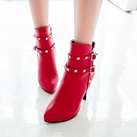 Studded Pointed Toe High Heels Ankle Boots Thin Heel 6035