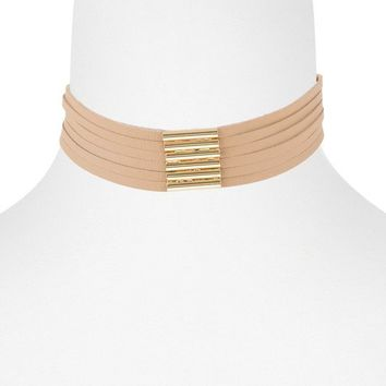 CARMEN CHOKER NECKLACE - TAUPE + GOLD