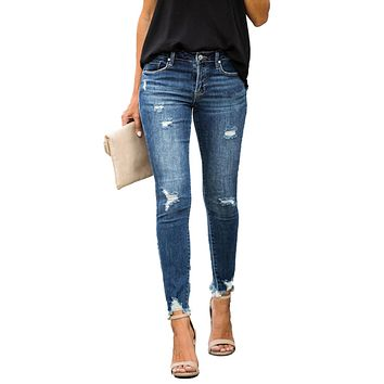 Mid Waist Skinny Jeans Women Vintage Distressed Denim Pants Holes Destroyed Pencil Pants Casual Trousers summer Ripped Jeans