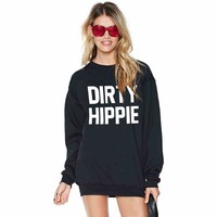 """Black """"Dirty Hippie"""" Letter Print Sweater"""