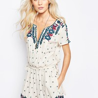 Free People Song For You Embroidered Romper