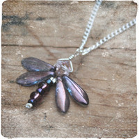 Handmade purple glass dragonfly pendant, dragonfly necklace, purple pendant, womens gift, keepsake jewellery, christmas gift for her