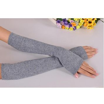 Arm Warmers, Arm Sleeve - Fine Cashmere Long Knit Fingerless Gloves