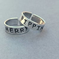 Merry and Pippin Lord of the Rings LOTR Best Friend Rings Couples Rings Hand Stamped Aluminum Ring