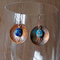 Hammered copper earrings with blue aqua terra, gorgeous iridescent patina