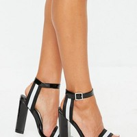 Missguided - White Stripe Block Heel Sandals
