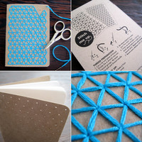 DIY Teal Embroidery Pocket Notebooks by CuriousDoodles on Etsy