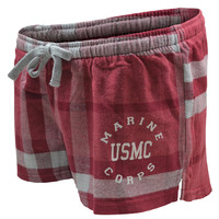 Ladies Marine Corps Flannel Shortie Shorts