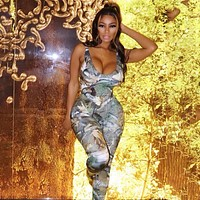fhotwinte19 new fashion women's leaf print sexy backless high waist tight suit