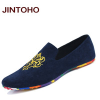 JINTOHO fashion suede men shoes soft leather flat shoes casual slip on moccasins men loafers hight quality driving flats