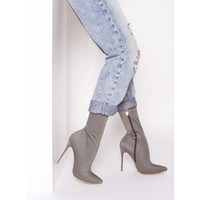 Jadah Grey Lycra Pointed Toe Ankle Boots : Simmi Shoes